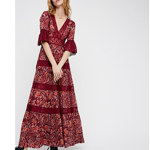 Free People Dresses & Skirts - Free People Floral Lace Bohemian Maxi Dress